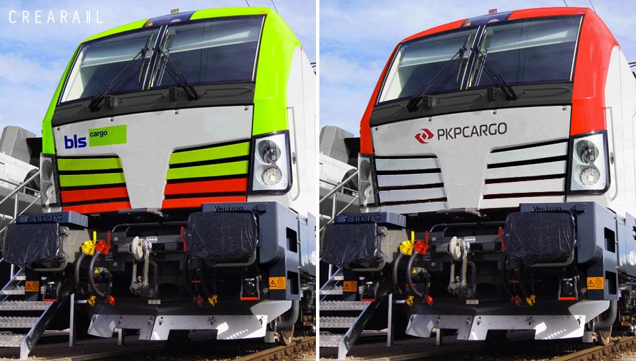 Artist impressions van de Siemens Vectron in de kleuren van BLS Cargo (links) en PKP Cargo (rechts). Copyright Crearail.com